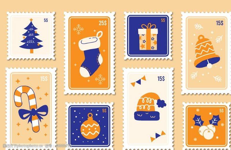 圣诞邮票圣诞小元素矢量图片