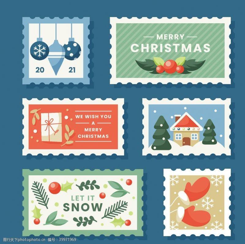 圣诞邮票图片