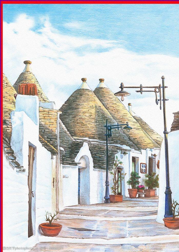 卡通房子手绘欧洲建筑图片
