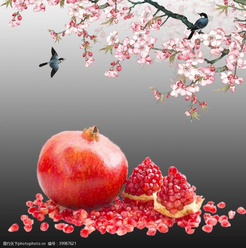 优美新鲜的石榴古风水墨桃花和鸟图片