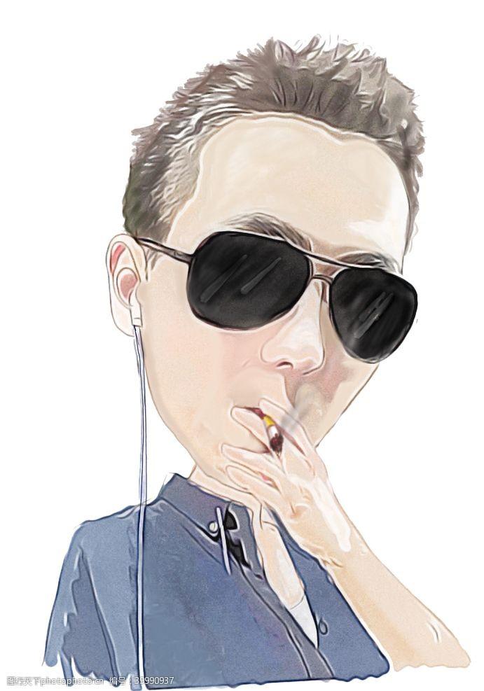 矢量插画抽烟听音乐的小青年插画图片
