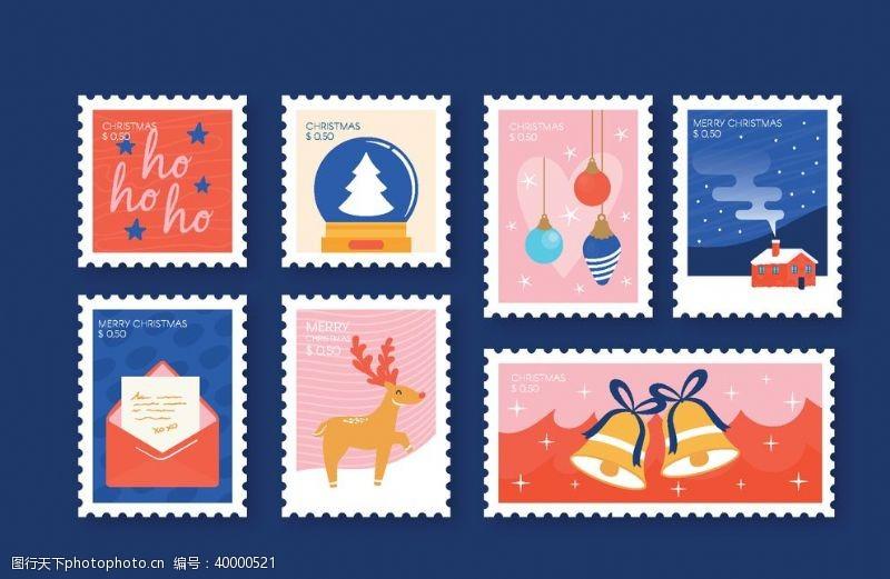 圣诞邮票矢量图图片