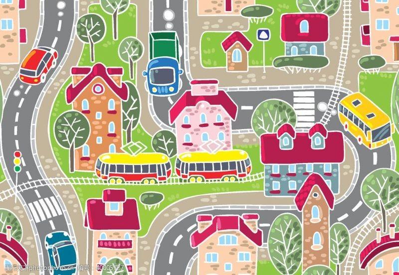 卡通房子卡通城市图片