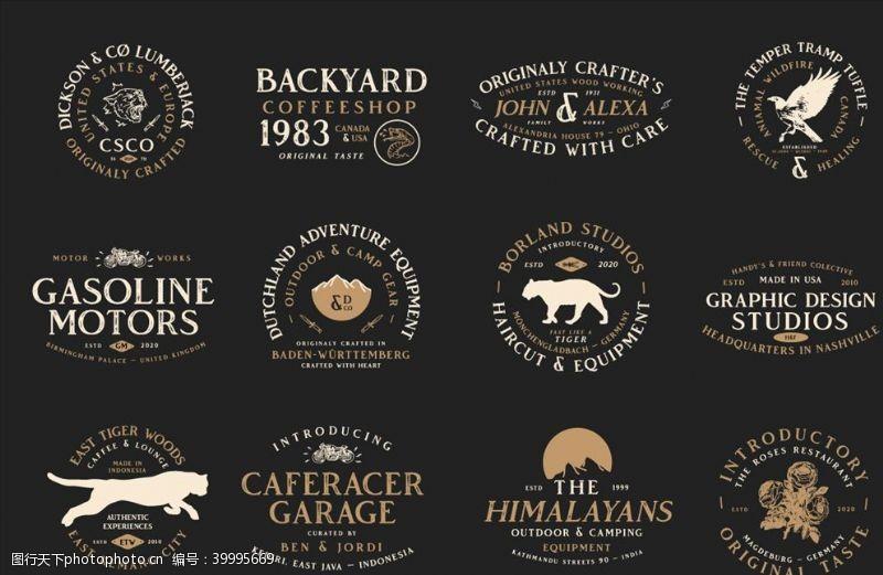 字形野兽英语logo标题设计图片