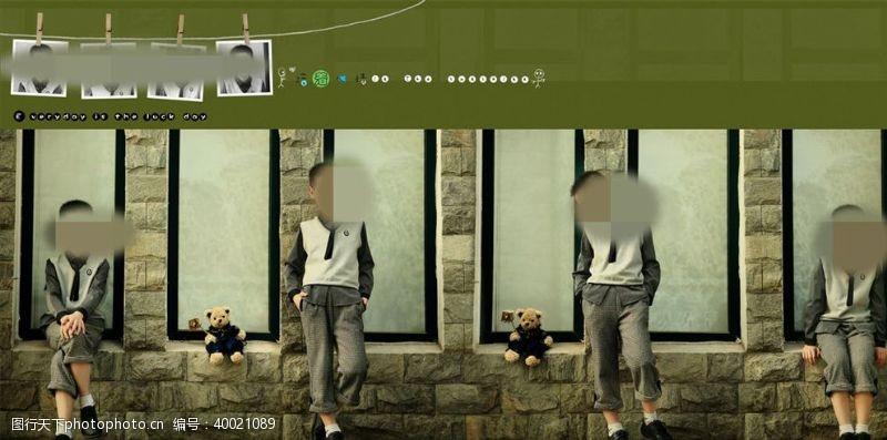 婚纱摄影模板英俊少年周岁纪念册PSD模板图片