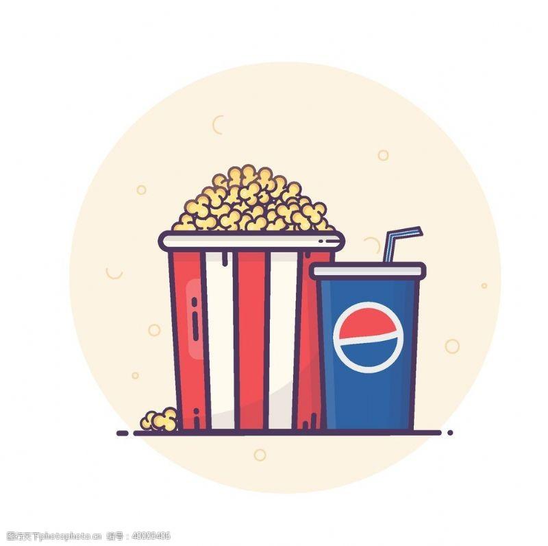 电影素材爆米花可乐素材图片