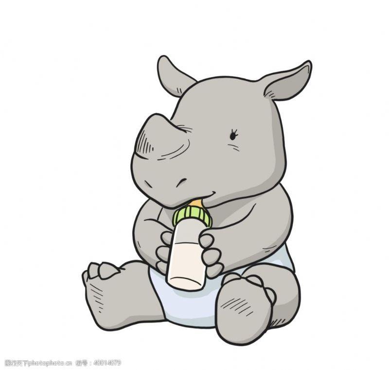 时尚插画抱着奶瓶很爱的犀牛宝宝图片