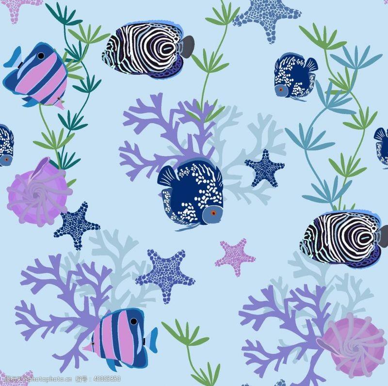 海螺海草海洋海底世界各种鱼图片