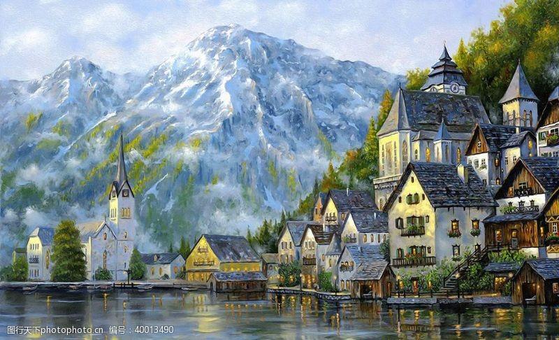 油画艺术湖边小镇图片