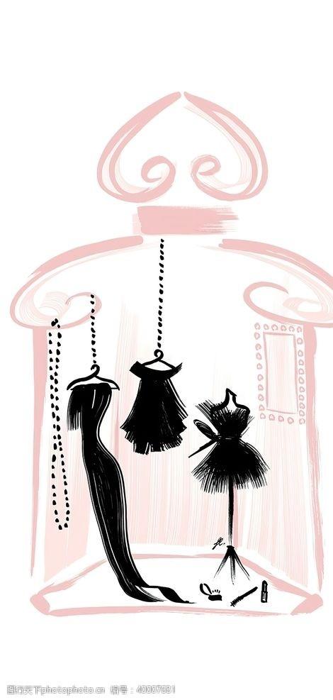 创意概念娇兰时尚插画图片