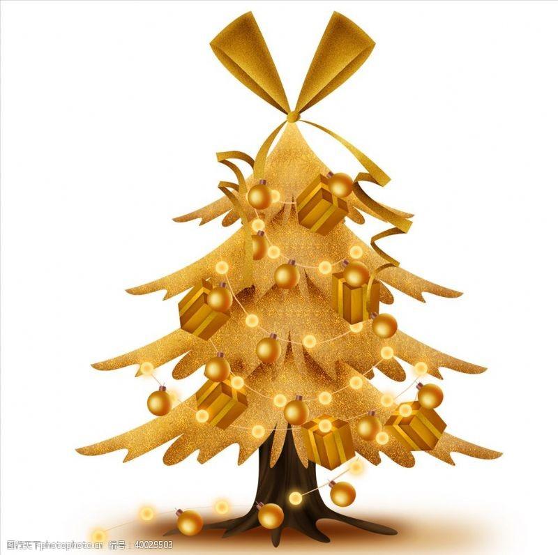 ps素材设计金色圣诞树图片