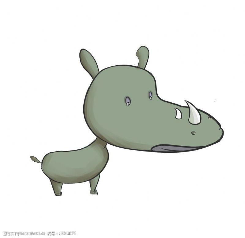 时尚插画卡通犀牛插画图片