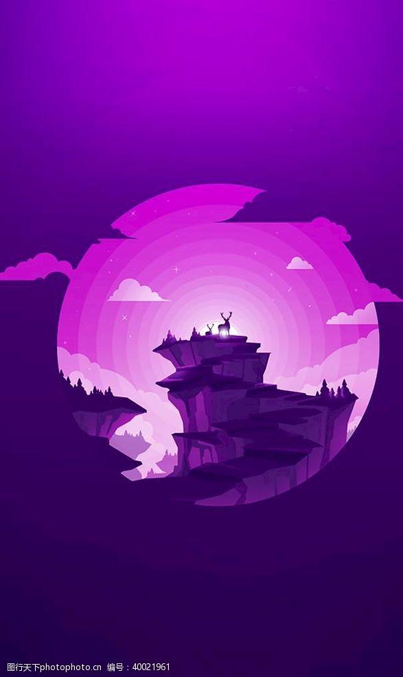 设计图库夕阳西下的山图片