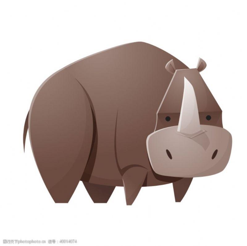 时尚插画棕色犀牛插画图片