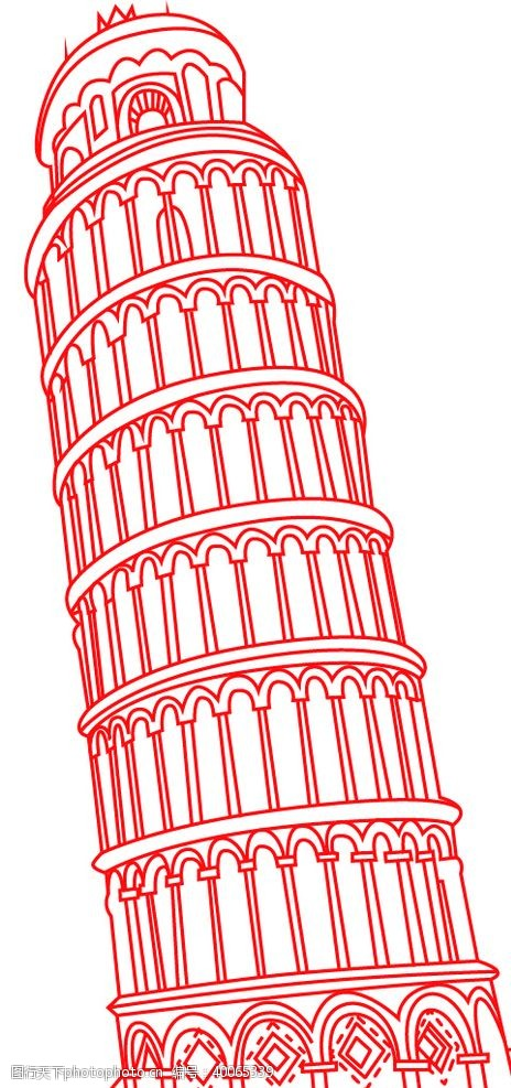 建筑线稿比萨斜塔线稿图片