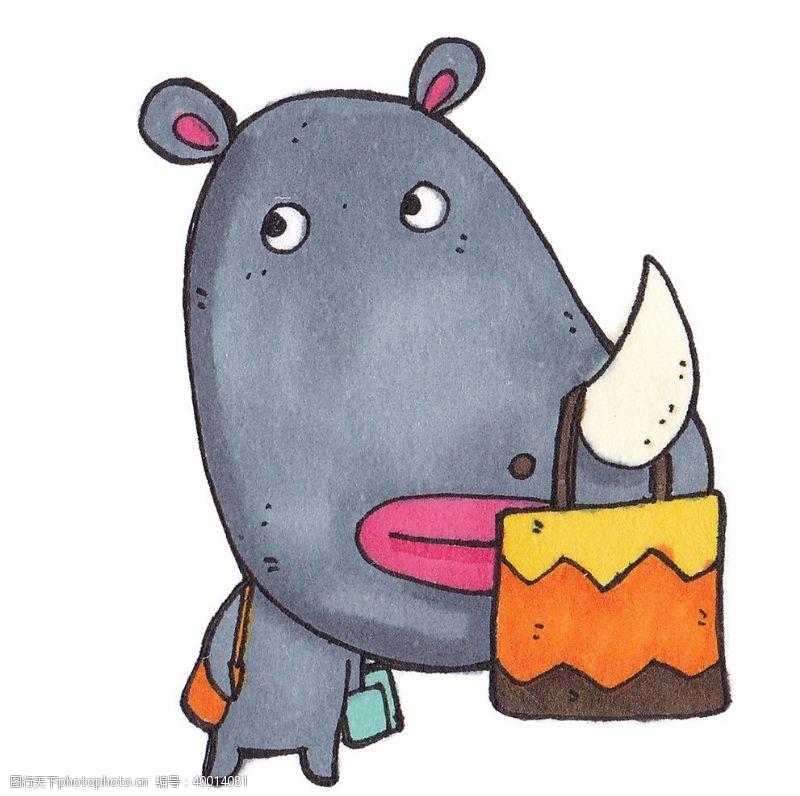 时尚插画鼻子上挂包包的犀牛插画图片