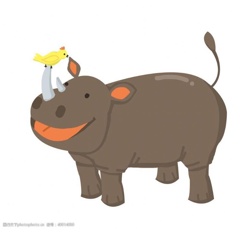 时尚插画鼻子上有只小鸟的犀牛插画图片