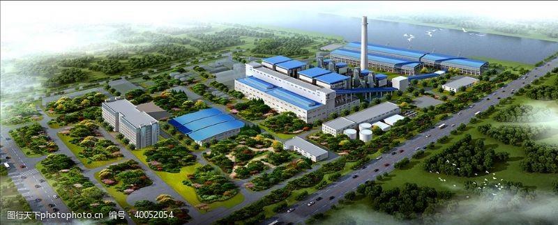 工业生产电厂鸟瞰效果图图片