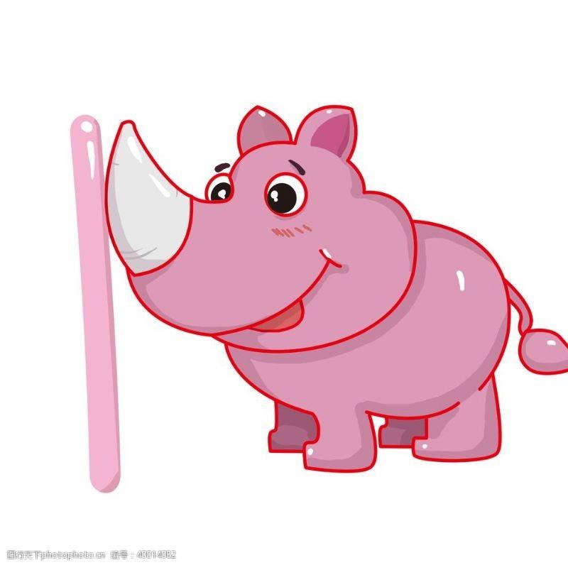 时尚插画粉色可爱的犀牛插画图片