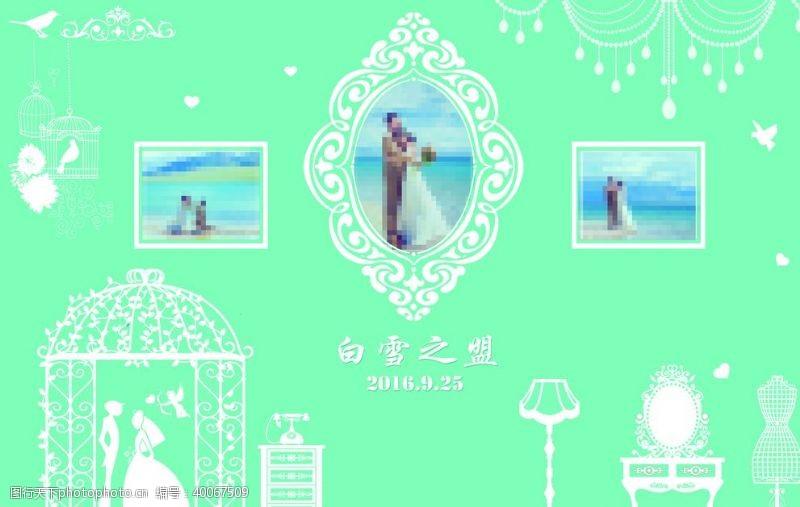 绿色花纹婚庆背景图片