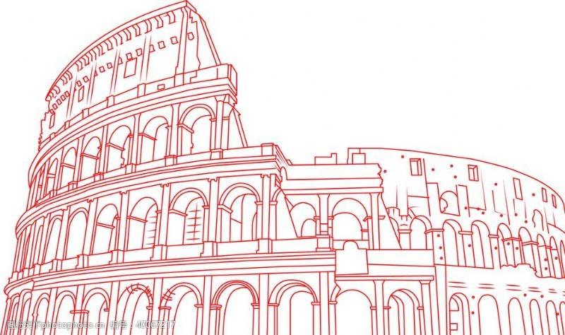 罗马斗兽场线稿建筑线稿图片