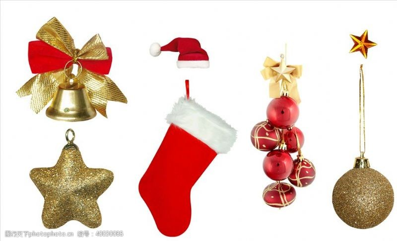 金色铃铛圣诞节装饰元素PNG免抠图片