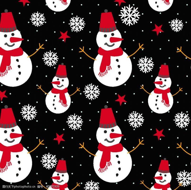 圣诞雪花圣诞雪人图片