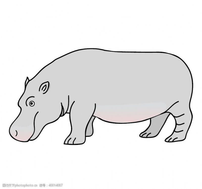 汽车修理犀牛插画图片