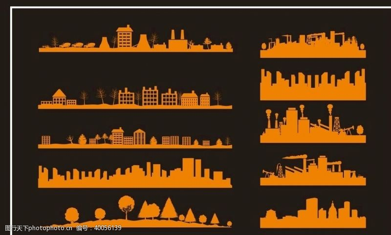 塔楼城市剪影图片