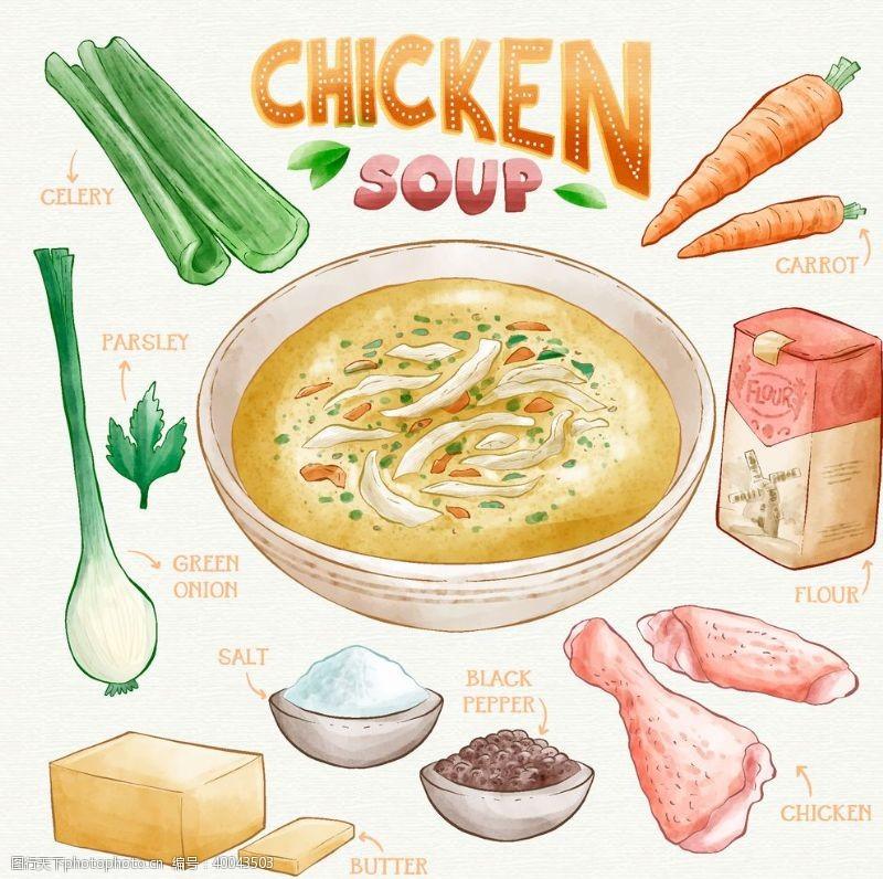 大葱健康饮食矢量手绘元素图片
