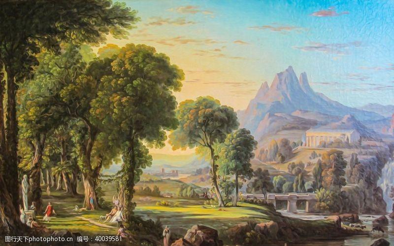 油画艺术郊外图片