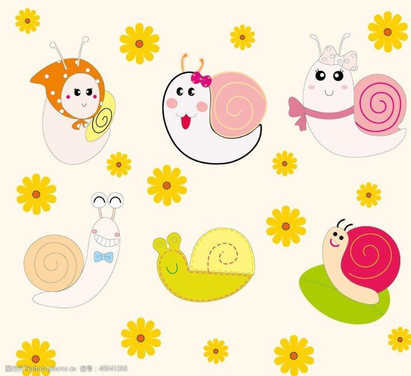 卡通花朵蜗牛图片