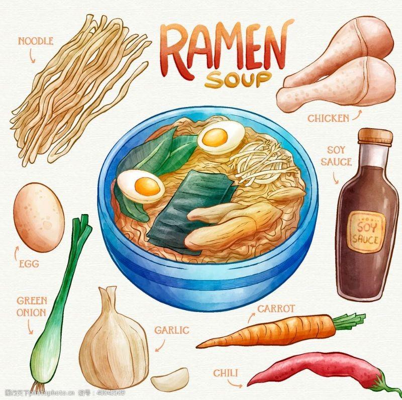 大葱健康饮食拉面手绘矢量图图片
