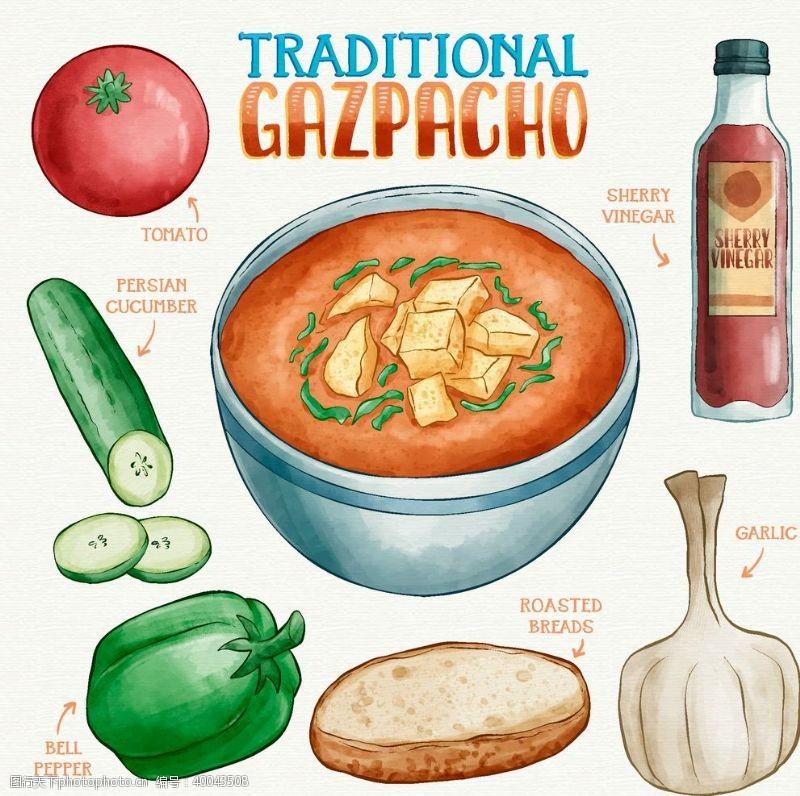 餐饮素材健康饮食矢量手绘元素图片