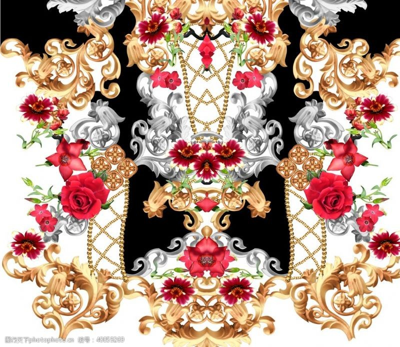 玫瑰花朵欧式花纹图片