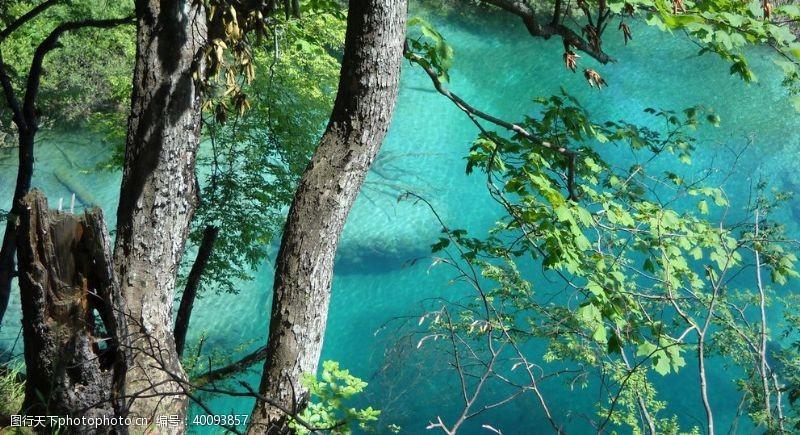 公园湖泊普利特维采湖群图片