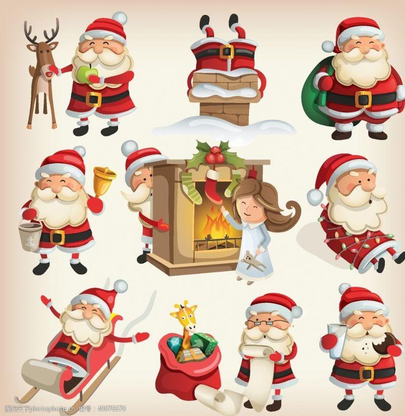 圣诞节日圣诞节卡通矢量素材图片