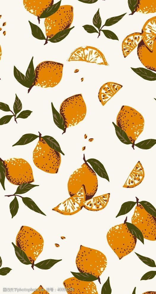 走秀手绘花水果水彩数码印花图片