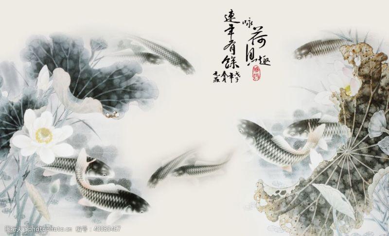 在背景中水墨中国风图片