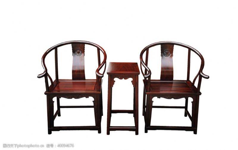 紫檀酸枝圈椅3件套图片