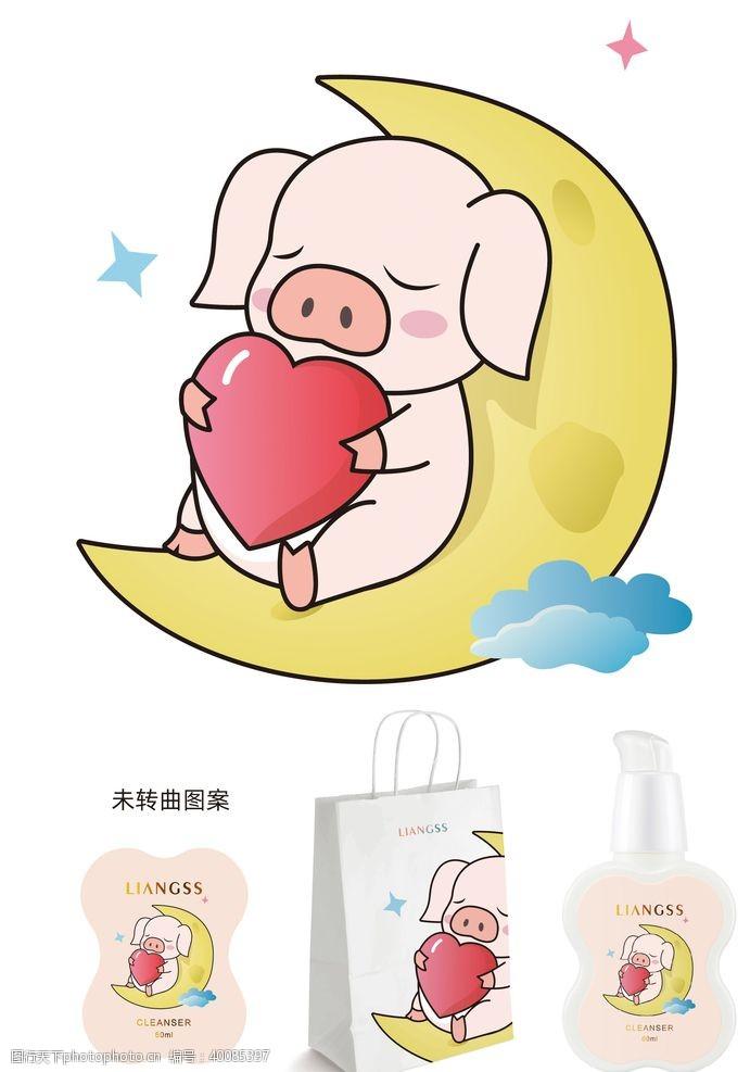 小猪卡通包装插画图片