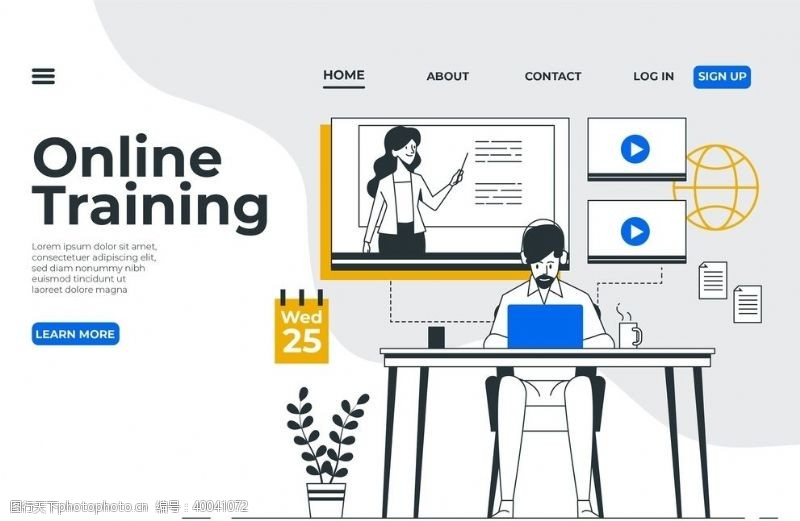 在线教育学习创意概念插画图片