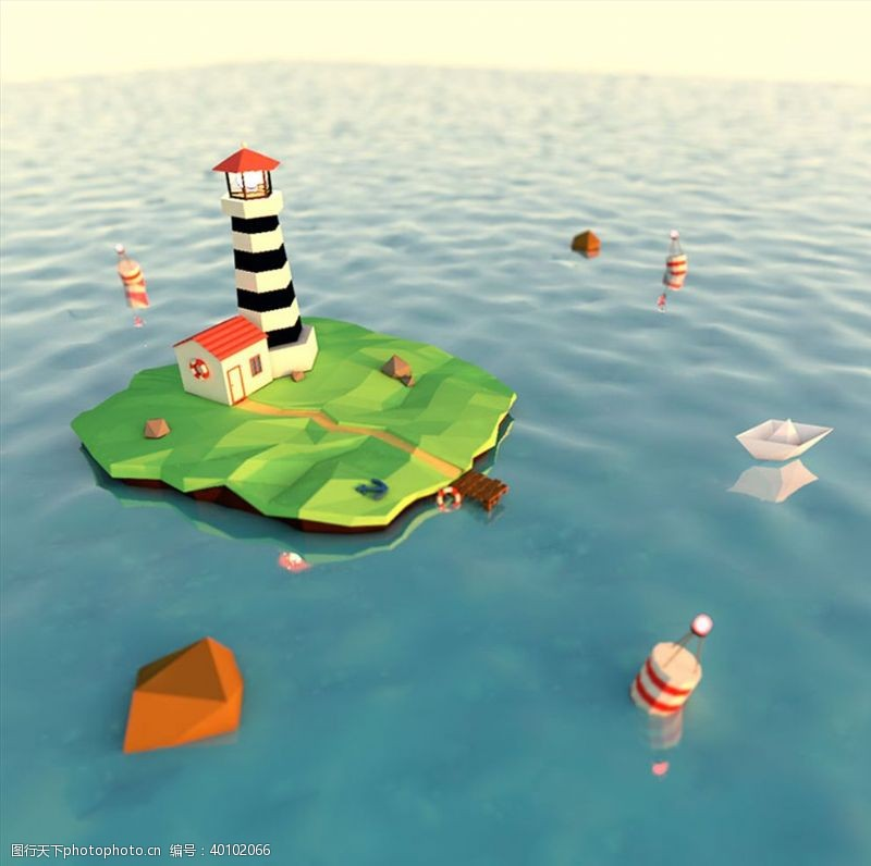 C4D模型海面上的灯塔房子图片