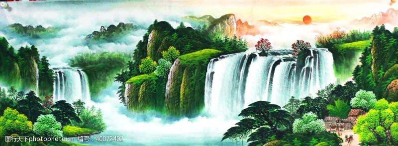 聚宝盆国画山水图片