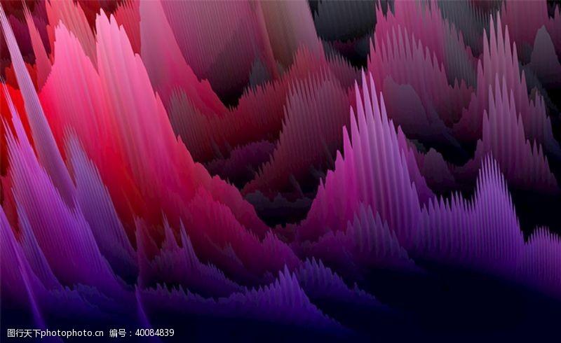 水墨山峰梦幻紫色丛林图片