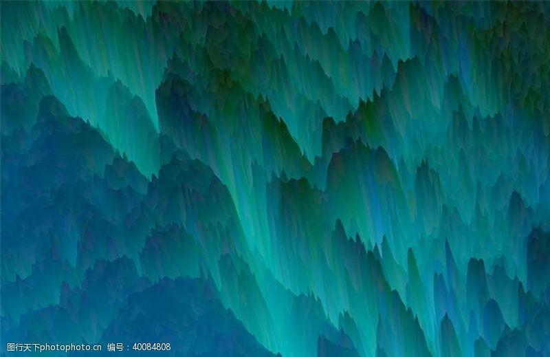 水墨山峰青绿色抽象山峰图片