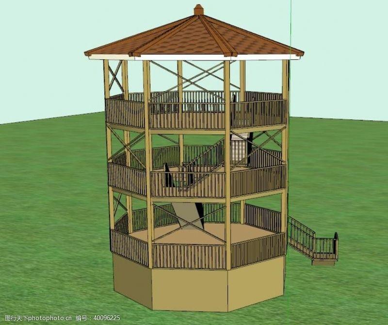 建筑模型三层八角亭图片