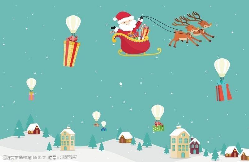 矢量插画圣诞老人鹿礼物图片