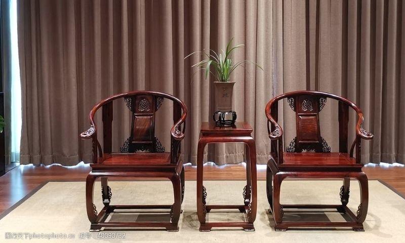 紫檀酸枝皇宫椅3件套图片