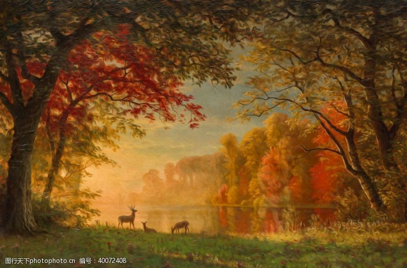 油画艺术晚秋图片